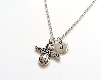I Love Volleyball Necklace, Volleyball Initial Charm, Sport Jewelry, Personalized Necklace, Sports Initial Necklace (SM21)