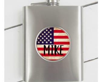 Personalized Flask American Flag Flask Army Flask Groomsman Gift Groomsman Flask RyElle Veterans Flask Vetarns Gift Army Gift American Flag