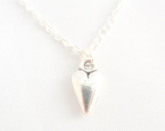 Silver Heart Necklace -  Heart Necklace - Valentine Heart Necklace - Childs Necklace - Valentine Gift