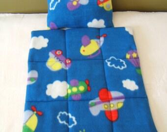 Handmade quilt and pillow for dolls - made of fleece.