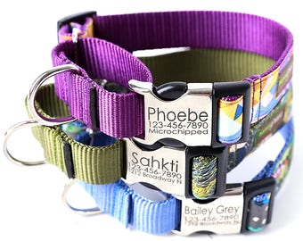 Engraved Buckle Martingale Dog Collar - 20 Classic Cotton styles to choose from