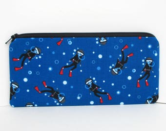 Pencil Zipper Pouch, Scuba Divers in Blue Ocean, Zippered Bag