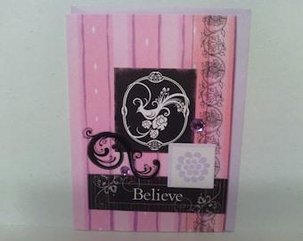 BELIEVE Pink Purple Bird Collage Card
