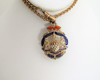 Antique Gold, Silver & Enamel Pocket Watch Fob - Necklace Pendant. London 1920, Royal Masonic Institution For Boys. Royal Crest Pendant Fob