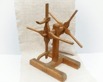 Primitive antique wooden wool winder Large yarn winder Yarn swift Rustic home decor Early style weaving knitting wooden tool Fibre arts tool