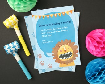 Personalised Boy's Lion Party Invitations -- Minimum order 8