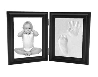 Baby Hand Print and Footprint Air Drying Stone Clay Bi-Fold Quality Wood Photo Frame Gift Set (Expresso)