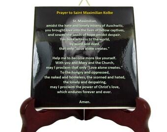 Saint Maximilian Kolbe - Prayer to St Maximilian Kolbe - ceramic tile handmade in Italy - catholic prayer - catholic prayers