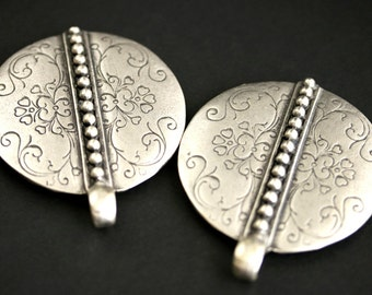 Two (2) Viking Brooches. Scroll and Rivet Silver Apron Pins. Silver Norse Shoulder Brooches. SCA Jewelry. Reenactment Jewelry.