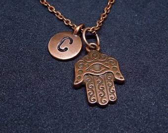 Copper Hamsa hand with Initial necklace, personalized necklace, initial necklace