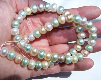 Pastel Freshwater Pearls 9x7mm 16 inch strand