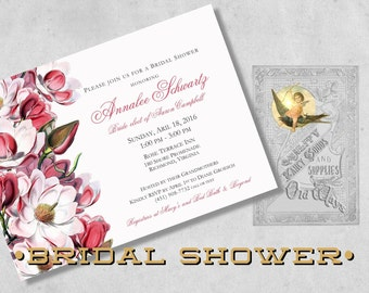 Magnolia Spring Bridal Shower Invitations - Pink Magnolia Flowers - Elegant Southern Floral Bridal Shower Invitations - Printed