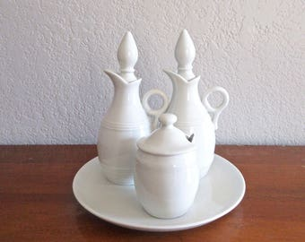 French Cruet Set - Pillivuyt Culinaire Cruets - Porcelain oil and vinegar cruets - mustard jar - white French porcelain - made in France