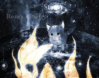 Universe Kitten Space Fish Print