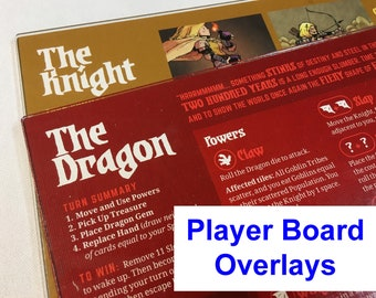 Vast: The Crystal Caverns Player Board Overlays -KNIGHT/DRAGON