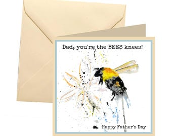 Fathers day card, bee fathers day, joke dad card, awesome dad, dad greetings card, father card, dad card