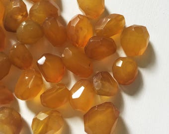 Amber Agate Faceted Nugget Beads