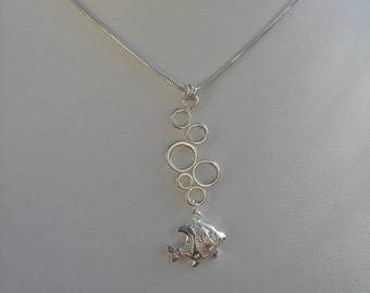 """925 Silver chain! Fish with """"Bubbles""""."""