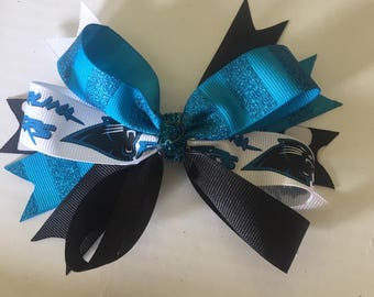 Carolina Panther Bow ~ 6 inches