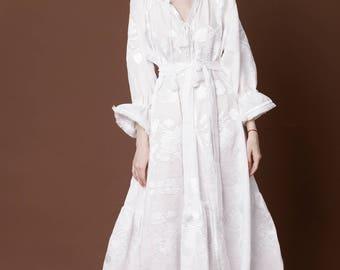 Vyshyvanka White Long Bohemian Wedding Dress Ukrainian Kaftan