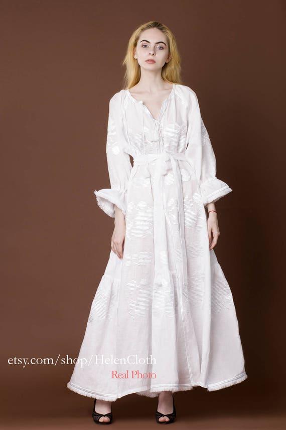 Weiß Leinen Hochzeit Kleid Vyshyvanka ukrainischen Kaftan