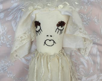 Prim Art Doll - Strange Art Doll - Fantasy Ragdoll - Odd Cute Doll - Plush Art Doll - Odd Creature Doll - Miss Havisham Series