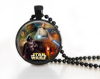 Star Wars 1 Inspired Glass Pendant, Photo Glass Necklace, Glass Keychain