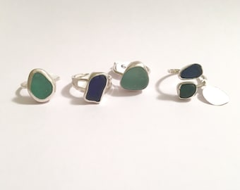 Bezel Set Sea Glass and Sterling Silver Ring assorted colors, shapes, and sizes available / always genuine sea glass from local beaches