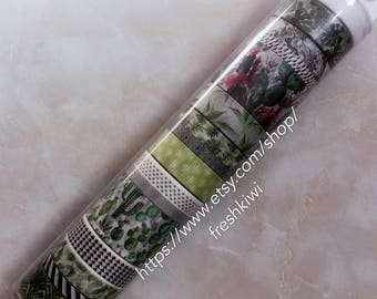 the paper studio washi tape. Botanical. succulent. plants. green
