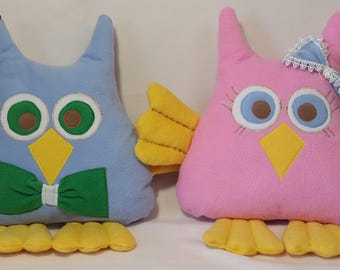 Owl plush Stuffed owl Play pillow Owl toy Softie owl Plushie from picture From kids drawing Bird toy Animal toy Bird pillow