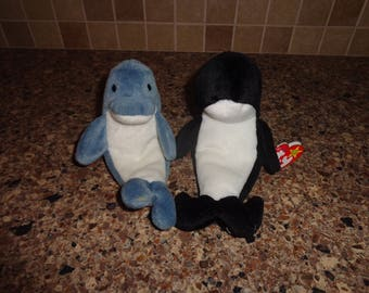 RARE!  Tag Mistake!  Retired Ty Beanie Babies Echo the Dolphin and Waves the Whale MWMT