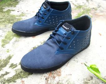 blue leather Sneakers men handmade Marapulai shoes women stars Custom made