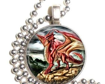 Red Dragon Altered Art Photo Pendant, Earrings and/or Keychain Round, Silver and Resin Charm Jewelry