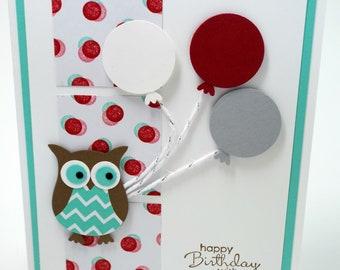Handmade Owl, Polka Dot and Balloon Happy Birthday card