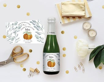 FALL CHAMPAGNE LABELS, Pumpkin Cheers To The Future Mrs Champagne Labels, Bridal Shower Champagne Labels, Mini Champagne, diy Wine Labels