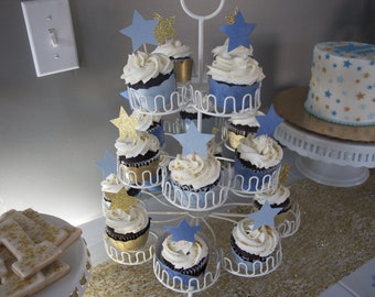 Twinkle Twinkle Little Star Cupcake Picks and Wraps- Set of 24-Blue or pink!
