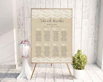 Rustic Wedding Seating Chart Printable Lace Seating Chart Wedding Seating Plan Table Arrangement Sign Seating Template Wedding Table Plan