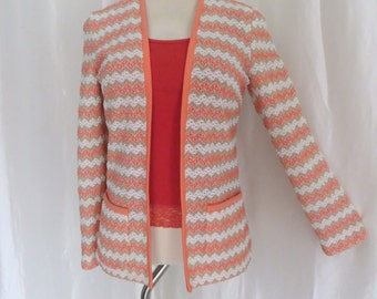 Vintage 70s womens sweater jacket, orange white beige striped cardigan knit, Spring Fall