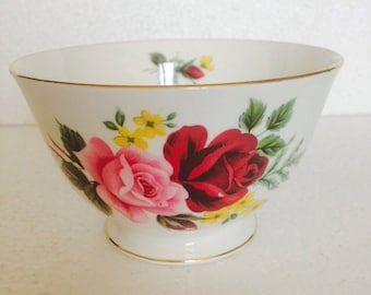 Antique Sugar Bowl Candy Dish - Pink and Red rose with Yellow Flowers  - Queen Anne - vintage fine bone china