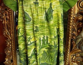 Vintage 1975 Holiday Sportswear Hawaiian MuuMuu Tiki Dress