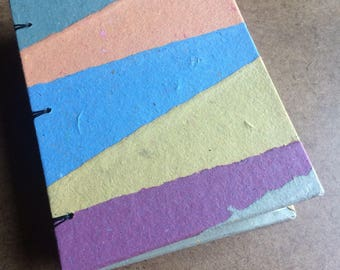 Colorful striped journal, handmade paper, sketch book, travel journal, guest book, recycled paper, guestbook, sketchbook, homemade paper