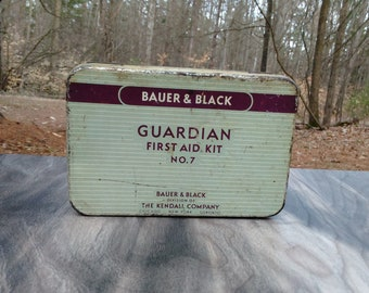 Vintage First Aid Kit - Bauer and Black Guardian First Aid Kit - Bathroom Decor - Vintage Tin - Collectible Tin