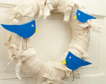 """Spring Wreath - 12"""" Primitive Knotted Fabric Wreath with Blue Birds"""