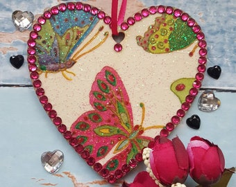 Hanging Heart with Butterflies, Wooden, rhinestones, country cottage chic