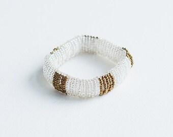 bracelet perles de verre /blanc et bronze/ fait main/ reversible