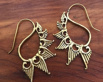 Feather Winged Victory Hook Earrings in Brass