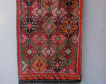 Turkish Rare Soumak Kilim, Global Textile, Vintage Kilim Rug, Red Hand Woven Large Kilim made in Turkey 1940's - 1950's Sumak Rug