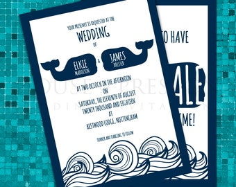Whale Wedding Invitations, Nautical Wedding Stationery Set