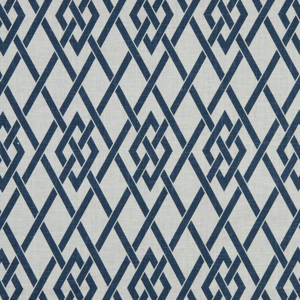 Navy Blue White Trellis Upholstery Fabric Blue Geometric