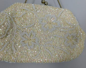 Vintage 1960's Hand Beaded Evening Bag or Purse     box C1
